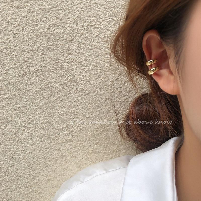 Korean Zircon Small Ear Cuff Set Ear Clips Vintage Gold Color Earcuff Cute Cartilage No Pierced Clip Earrings Women's Jewelry