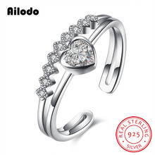 Ailodo Romantic Real 925 Sterling Silver Engagement Wedding Rings For Women Luxury CZ Open Fashion Jewelry Gift LD439