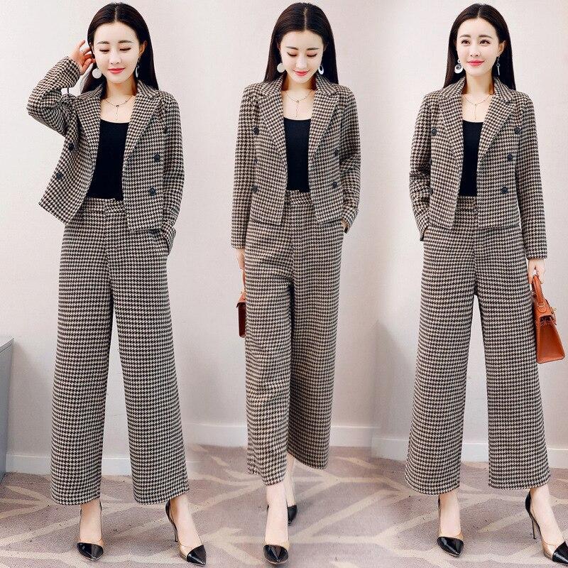 Temperament casual women's suits two-piece Autumn new slim plaid short women's jacket High waist wide leg pants trouser suit