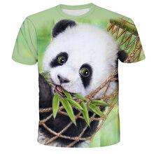 2021 Hot fashion new animal world of giant panda 3D printing men's trend short-sleeved T-shirt pattern streetwear men clothing
