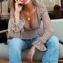 Conmoto Leopard Print Sexy Ruffle Women Blusas Shirts Sexy Transparent Female Chiffon Blouses Shirt Lantern Sleeve Shirt
