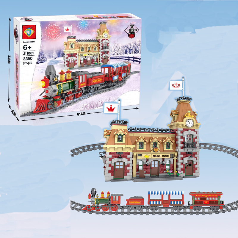 3350pcs J11001 DIsneyed Train And Station Lepining 71044 Building Bricks Educational Toy Christmas Best Xmas Gifts