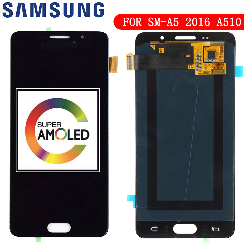 100% Teste de LCD Super AMOLED para Samsung Galaxy A5 2016 A510F A510M A510FD A5100 A510Y Display LCD de Toque Digitador Da Tela montagem