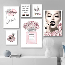 Pink Flower Perfume Fashion Underwear Heels Poster Sliver Lips Makeup Print Canvas Painting Wall Picture Girl Room Home Decor