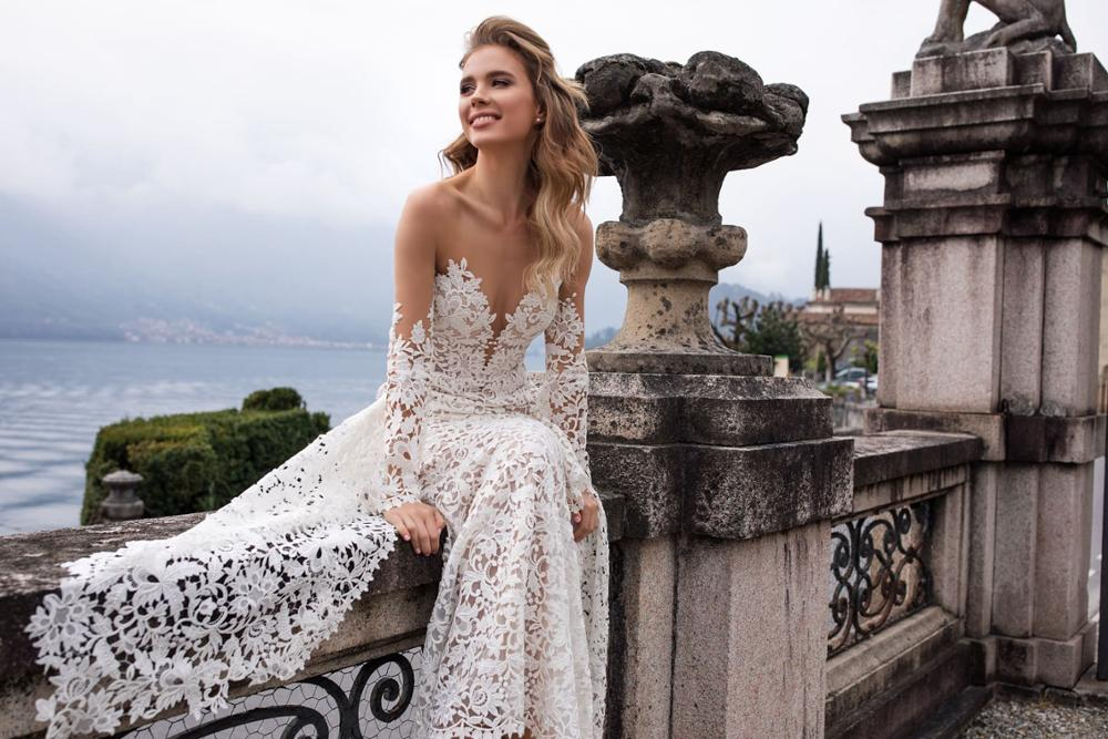 Image 4 - New Arrival Fashion Lace Mermaid Wedding Dresses With Flare Sleeves 2019 Backless Sweep Train Bride Dress Bridal Wedding Gowns-in Wedding Dresses from Weddings & Events