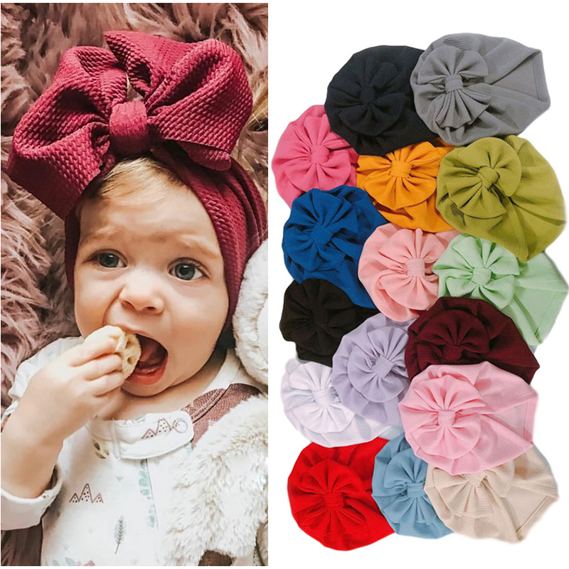 16 Colors Baby Hat For Girls Big Bow Baby Beanie Newborn Turban Hat Elastic Baby Girl Cap Infant Toddler Hats 1PC