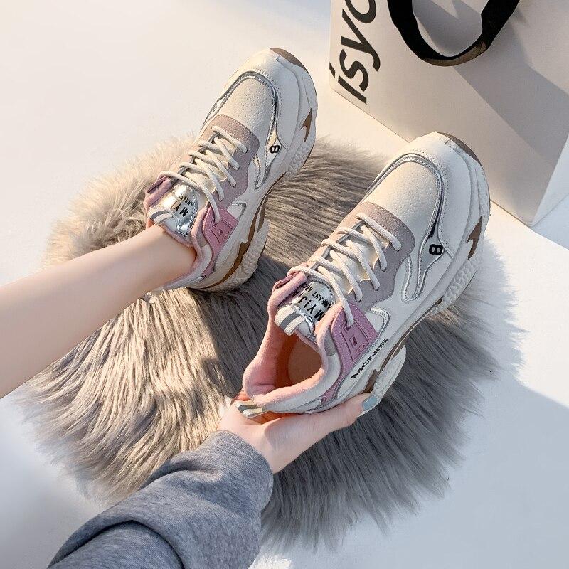 Женские ботинки; Зимняя обувь; Кроссовки на платформе; Плюшевые, с мехом внутри обувь на шнуровке, женская повседневная обувь, спортивная обувь, модные ботинки 2020|Кроссовки и кеды| | АлиЭкспресс
