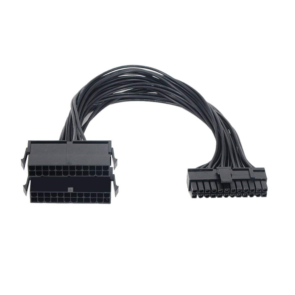 ATX 24Pin 2 Dual Molex <font><b>PSU</b></font> Power Supply Cord Motherboard Adapter <font><b>Cable</b></font> Starter <font><b>Extender</b></font> Synchronous Black image