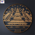 Chinese Style Forbidden City Round Frame Stereoscopic Metal Decorative Painting Living Room Entryway Wall Hangings X1616