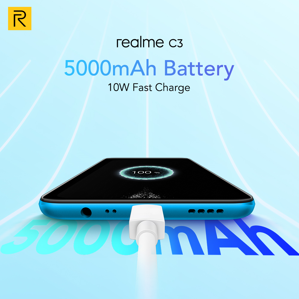 realme C3 Global Version 3GB 64GB Mobile Phone Helio G70 12MP AI Camera 6.5\