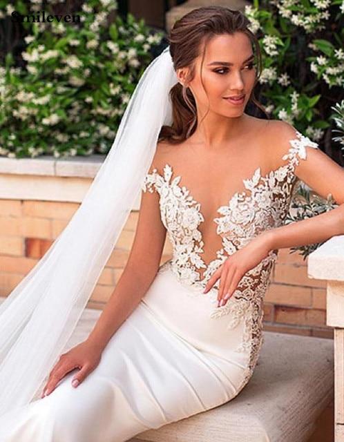 Smileven Mermaid Wedding Dress 2020 Satin Cap Sleeve Vestido De Noiva Lace Bohemian Bride Dresses With Romantic Buttons 5