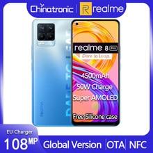 "Verdadero yo 8 Pro versión Global 128G teléfono móvil 108MP Quad Camera 4500mAh 50W EU cargador 6,4 ""Super AMOLED Snapdragon 720G NFC"