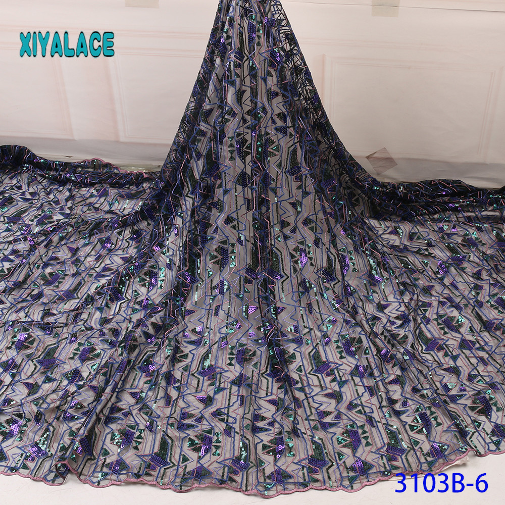 Purple/Green African Lace Fabric 2019 High Quality Sequins With Embroidery Nigerian Lace Fabric Women French Mesh Lace Fabric