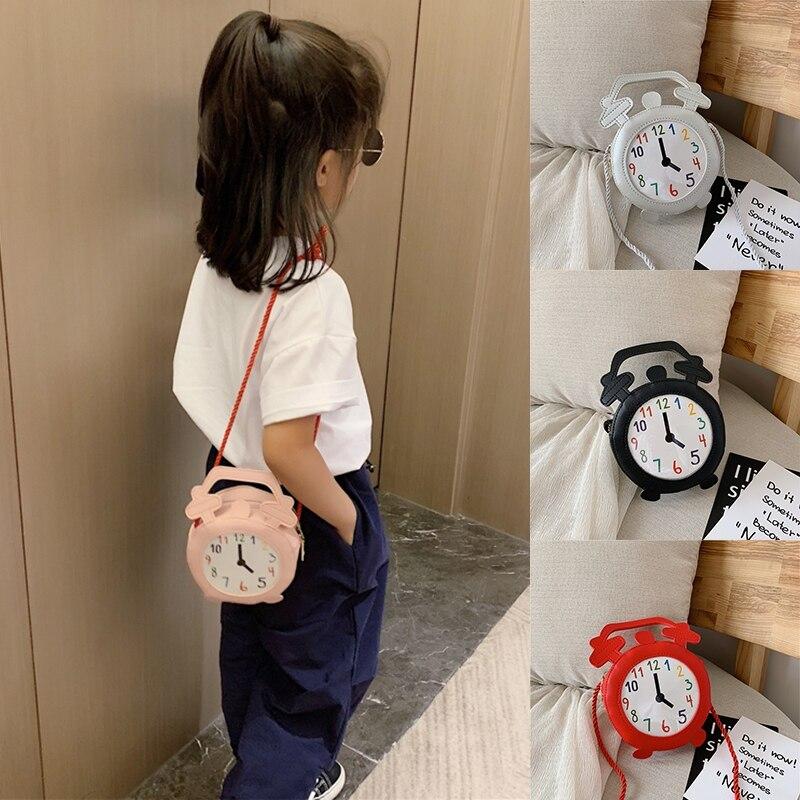 Children Cartoon Clock Print Cross-body Handbag Fashion Girls Kids PU Shoulder Messenger Bag