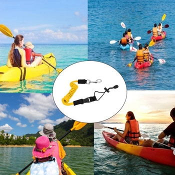 Outdoor Boat Elastic Kayak Canoe Paddle Leash Safety Boat Fishing Rod Pole Coiled Lanyard Cord Tie Rope Yellow 1 pc safety kayak canoe board paddle leash elastic paddle leash rafting rowing boats fishing rod coiled lanyard ropes 45 120cm
