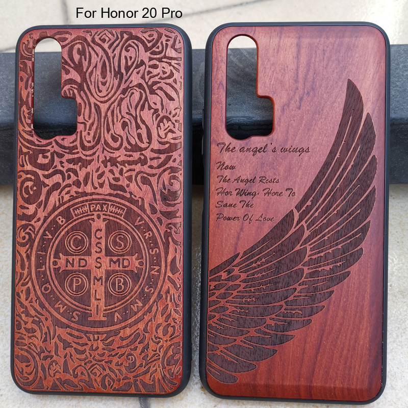 3D Carved Wood Cartoon Bear Case For Huawei Honor 20 Pro Dragon Lion Wolf Tiger Tree wooden carve Cover(China)