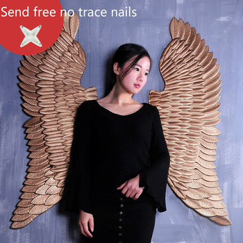1.3m Large Metal Angel Wings with LED Lights Vintage Ancient Iron Retro Wing Wall Decoration Bar Cafe Wall Home Decor Accessorie