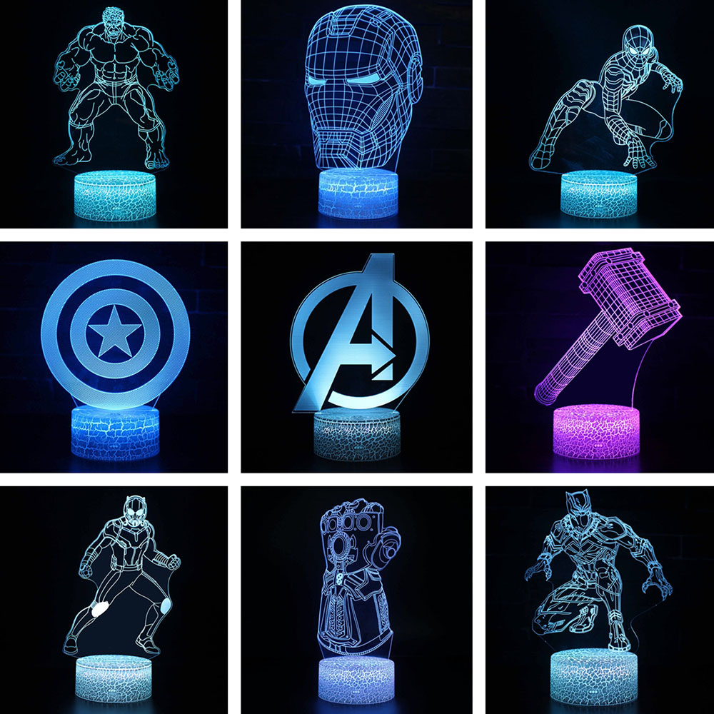Marvel Avengers Figurine 3D Illusion LED Night Light Colourful Lights Avengers Endgame Spiderman Figure IronMan Mask Model Toys