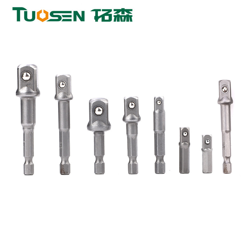 TUOSEN Pneumatic Socket Adapter For Impact Driver W/ Hex Shank To Square Socket Drill Bits Bar Extension Set 1/4