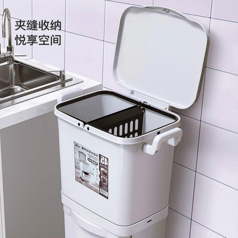 Grande poubelle de cuisine Double pont | Capacité poubelle tri des déchets, cuisine Restaurant poubelle de stockage des déchets Cubo Basura Lixeira OO65LJ