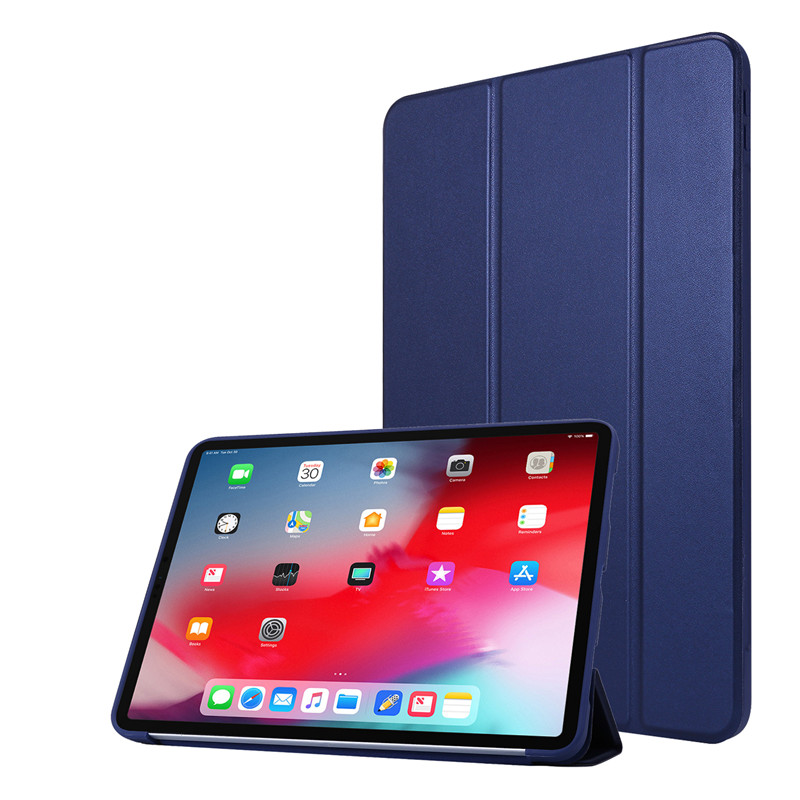Dark Blue White Cover Case For iPad 11Pro Case 2020 Tri fold PU Leather Smart Soft Silicone Case For