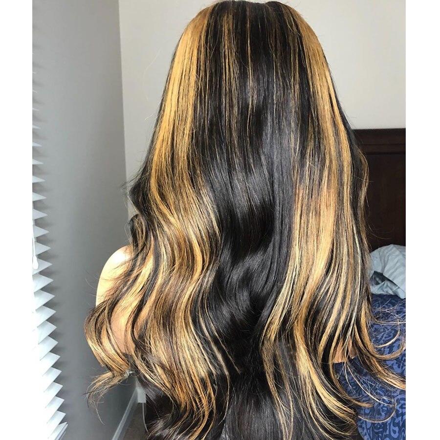 Point culminant Couleur Brésilienne Vague Naturelle Avant De Lacet Soie Base Perruques avec des Cheveux de Bébé Pré Plumé Délié Remy Cheveux 4*4 Soie Top - 4