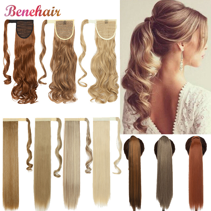 Benehair 17-26'' Fake Ponytail Long Wavy Ponytail Wrap Around Clip In Ponytail Hairpiece For Women Synthetic Hair Extension