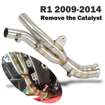Free shipping R12009-2014 Slip-On motorcycle exhaust muffler middle link pipe instead the catalys for Yamaha R1 yzf-r1 2009-2014