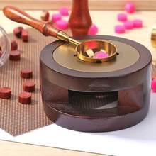 Horno de cera de sellado Retro, olla de horno con mango de madera, cuchara de cera de lacre, cuentas de cera, fundición, sello artesanal, regalo
