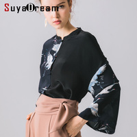 Women Silk Blouses 100% REAL SILK Crepe Vintage Print Blouse Shirt Flare SLeevd Causal Blouses 2019 Fall Winter Black Shirt