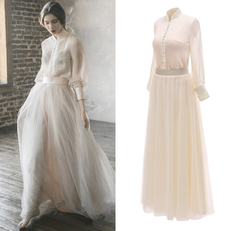 Beige Two Piece Wedding Dress In Vintage Style Bridal Gown Wedding Party Evening Dress Real Photo Factory Price