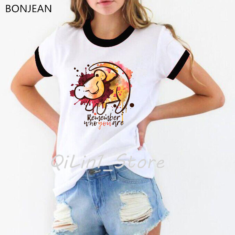 Hakuna Matata <font><b>Shirt</b></font> <font><b>Women</b></font> Remember who you are watercolor letter print <font><b>t</b></font>-<font><b>shirt</b></font> camisetas mujer <font><b>the</b></font> <font><b>lion</b></font> <font><b>king</b></font> tshirt femme tops image