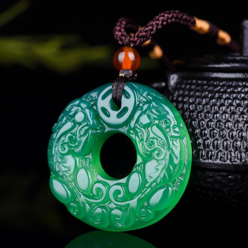 Real chalcedônia branco verde pingente colar handesculpida bravo tropas jade pingentes colares para homens feminino jade jóias