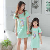 Camisón de unicornio para niñas, ropa de dormir de manga corta, bonito 100% de algodón, talla de 2 a 20 años
