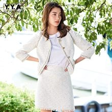 2020 Nieuwe Herfst Winter Womens Tweed Sets Mode Enkele Breasted Bovenkleding Korte Rokken Pak Elegante Slim Fit Lady Tweedelige set(China)