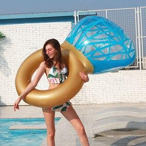 Image 2 - Rooxin 140cm יהלומי מתנפח שחייה מעגל רפסודת בריכה לצוף טבעת שחייה למבוגרים נשים תמונה אבזרי בריכת צעצועי החוף המפלגה