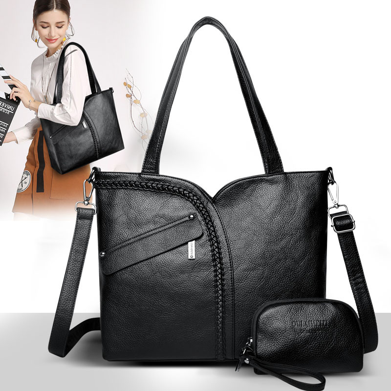 Image 2 - 2 Sets 2018 Large Capacity Women Bags Shoulder Tote Bags Women Messenger Bags With Coins Famous Designers Leather Handbags Sac-in Top-Handle Bags from Luggage & Bags