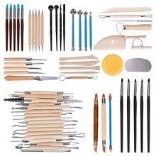 61 шт. Керамика инструменты глиняных скульптур, инструменты деревянная ручка резьба, керамика набор инструментов глина инструменты для чист...