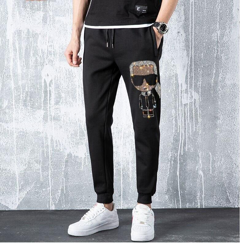 Pants Men Streetwear Hot Drill Pants Joggers Rhinestones Sweatpants Hip Hop Streetwear Trousers