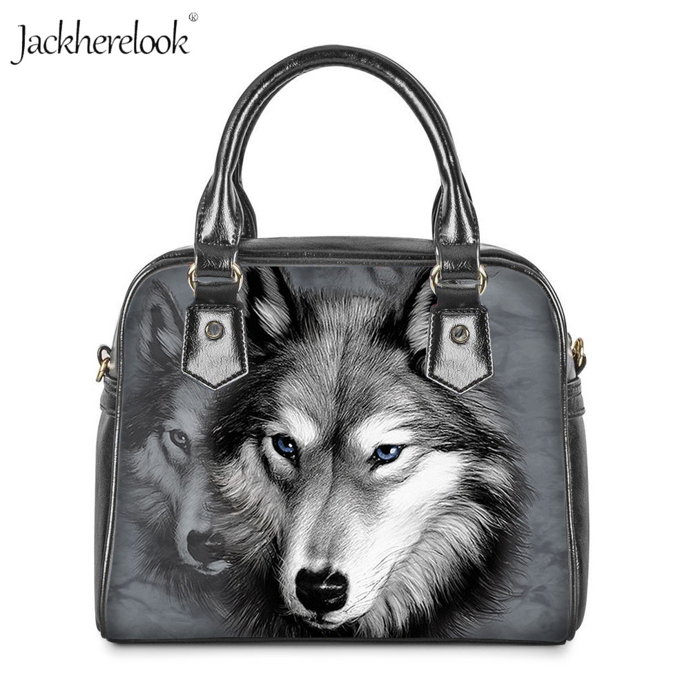 Ye Store Wolf Sketches By Lady PU Leather Handbag Tote Bag Shoulder Bag Shopping Bag