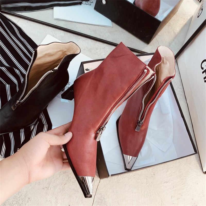 2019 الربيع/الخريف النساء الجبهة سستة حذاء من الجلد الأزياء عالية الكعب تشيلسي الأحذية أحذية الحفلات امرأة مكتب السيدات الأساسية أحذية