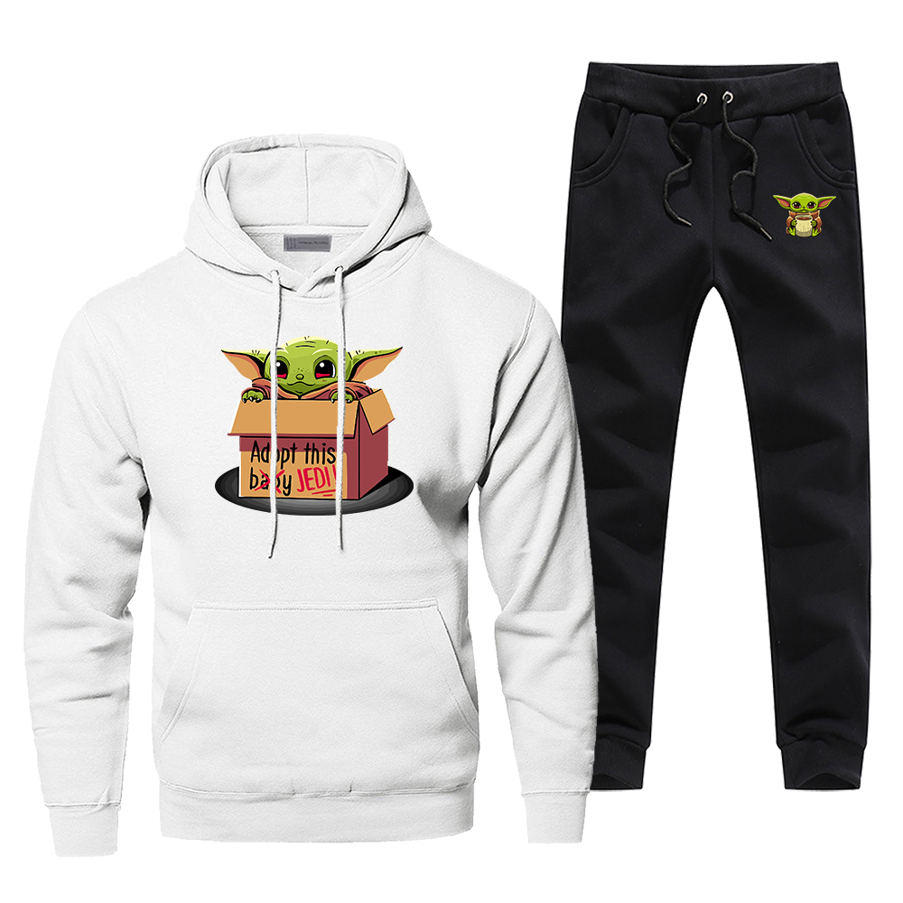 Baby Yoda Adopt This Jedi Tracksuit Men's Sportswear Sets Star Wars The Mandalorian 2020 Spring 2 Piece Sweatshirt + Sweatpants