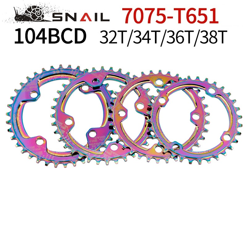 Narrow Wide 104BCD Colorful Bicycle Chainring MTB Mountain Bike 32T 34T 36T 38T Round Crankset Rainbow Chainwheel Tooth Plate