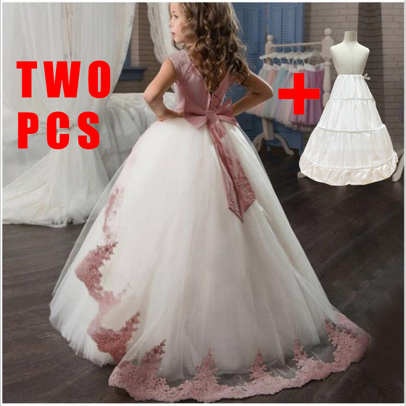 Summer Bridesmaid Dress Girl Lace Long to Floor Princess Kid Dresses For Girls Children Clothing Party Wedding Dress 10 12 Years
