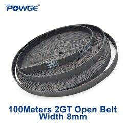 POWGE 50Meter 2MGT 2M 2GT öffnen synchron zahnriemen GT2 2M-6 2GT-6 breite 6mm Gummi Kleine backlash lineare Bewegung 3D Drucker