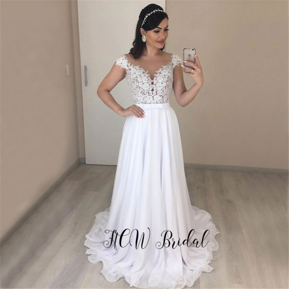 High Quality White Sheer Lace   Evening     Dress   A Line Floor Length Chiffon Occasion   Dresses   2019 Hot Selling Women Party Gown Cheap