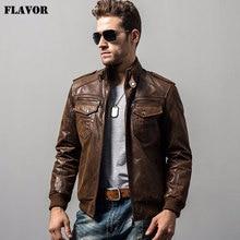 Kожаная куртка мужская, коричневая байкерская куртка из натуральной свиной кожи, теплая куртка на хлопковой подкладке для зимы