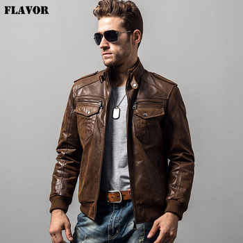 Men's pigskin motorcycle real leather jacket padding cotton winter warm coat male Genuine Leather jacket - DISCOUNT ITEM  45% OFF All Category