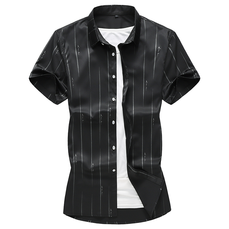 Striped Printing Business Casual Plus Size Short Sleeve Shirt Summer New Quality Linen Camisa Masculina Boutique Men Shirt M-7XL