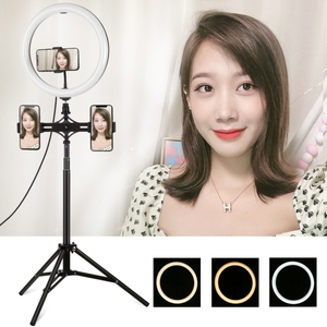Image 4 - 1,65 m Stativ Montieren Dual Telefon Halterung 11,8 zoll 30cm USB 3 Modi LED Ring Vlogging Video Licht Live broadcast Kits